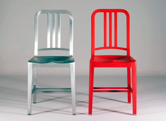 This sustainable version of the design classic 'Navy Chair' is made from 111 recycled plastic bottles.