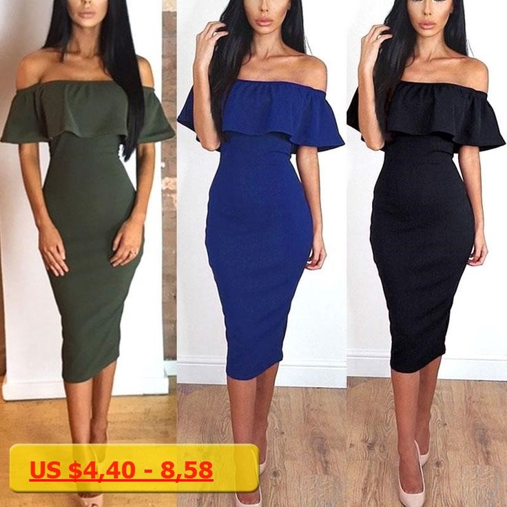 Sexy Women Off Shoulder Short Sleeve Dress Frill Ruffle Midi Bodycon Summer Beach Party Dresses FS99