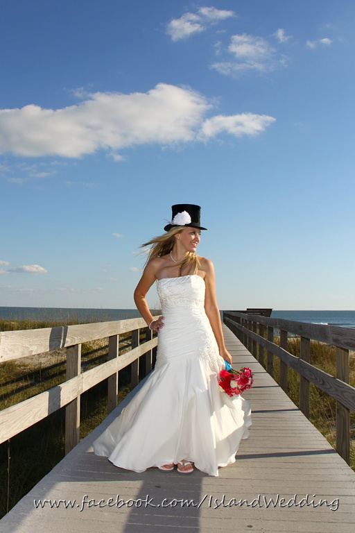 beautiful bride on the boardwalk beach wedding ocracoke island nc outer banks