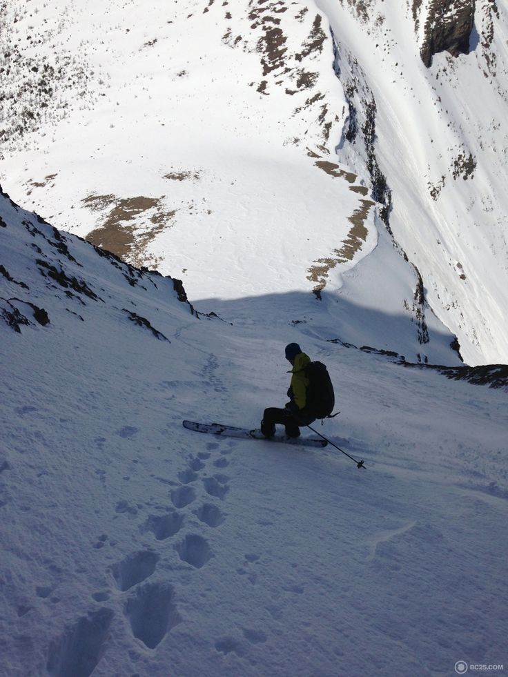 Ian almost all the way down the ski line