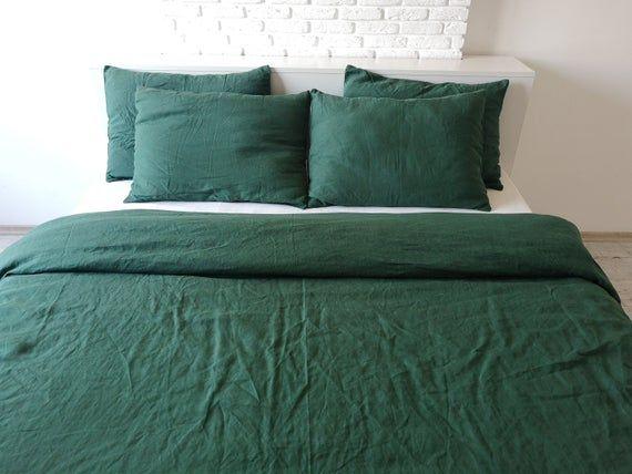 Forest Green Linen Bedding Set 1 Duvet Cover 2 Pillowcases Etsy Linen Duvet Covers Bed Linen Sets Green Comforter