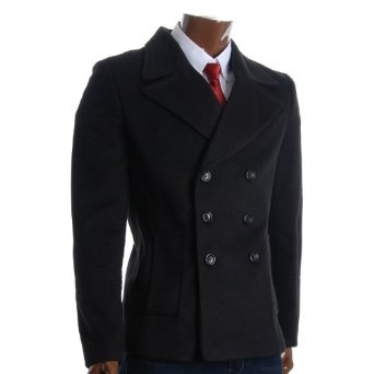 http://amzn.to/10l827t: FLATSEVEN Mens Winter Double Breasted Pea Coat Short Jacket (CT121): Clothing