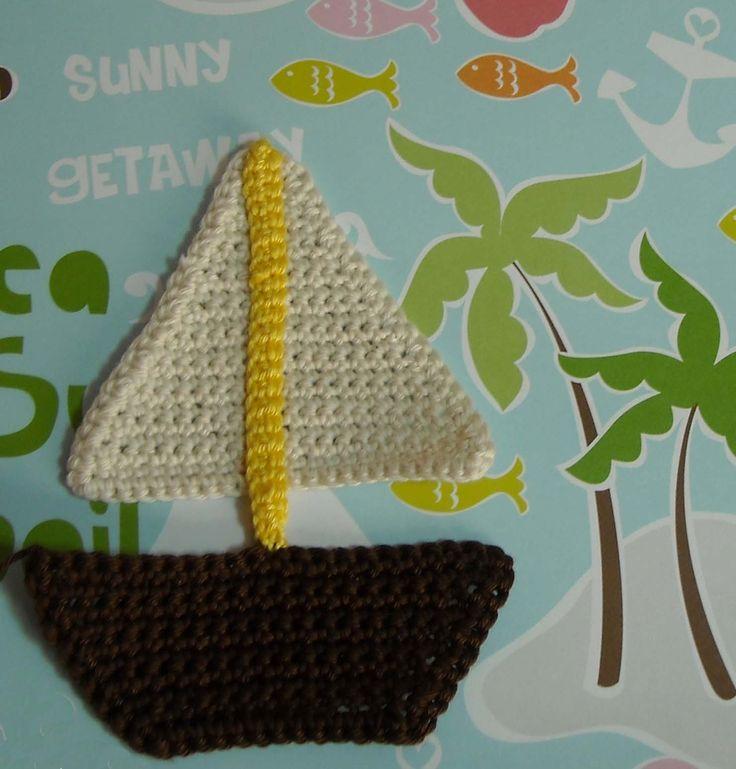 Πλεκτο Απλικε Καραβακι/ Crochet Boat Applique Tutorial