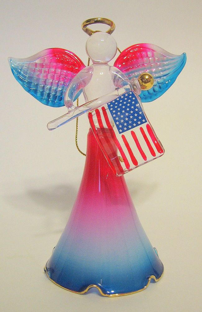 USA Patriotic Glass Angel Figurine Hand Blown and Hand Painted