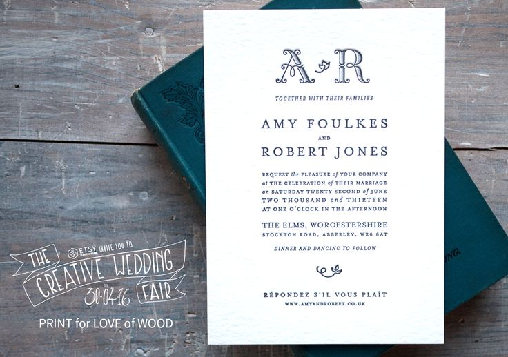 PRINT for LOVE of WOOD - The Creative Wedding Fair by Etsy Manchester - Wedding Stationery - Letterpress Wedding Stationery