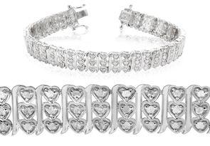 Sterling Silver 1 Carat Diamond Heart Tennis Bracelet, 7 Inches
