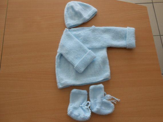 kit naissance garçon bonnet, brassière, chaussons