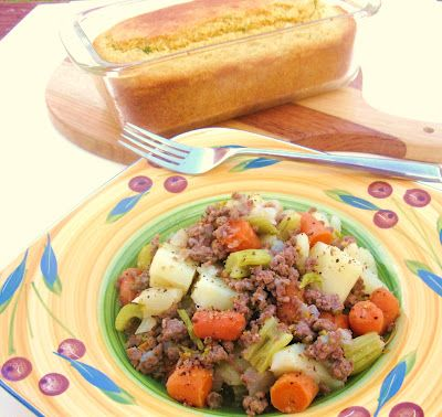 Hamburger Carrot Potato Casserole - a one pot meal more like a stew than a traditional casserole - simple and delicious.