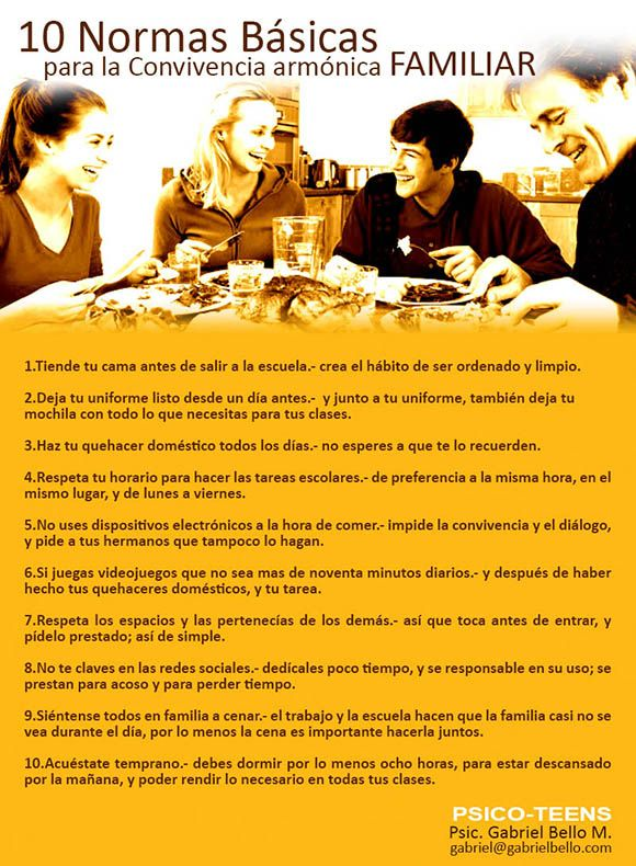 10 normas básicas para la convivencia armónica familiar
