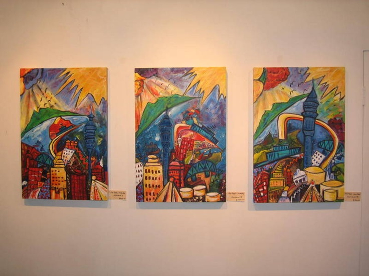This is a set of 3 large works of symblic of Auckland Harbour and influenced by Wassily Kandinsky