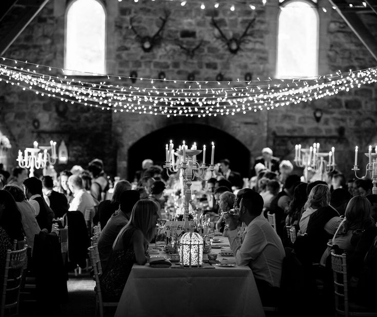 Classic Candelabras in Ivory - seen here in this gorgeous barn wedding reception.