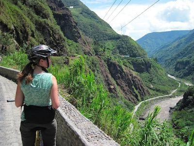 Biking the Rutas de las Casacas near Banos.