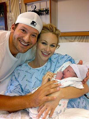 Tony Romo and Candice Crawford and their brand new son Hawkins