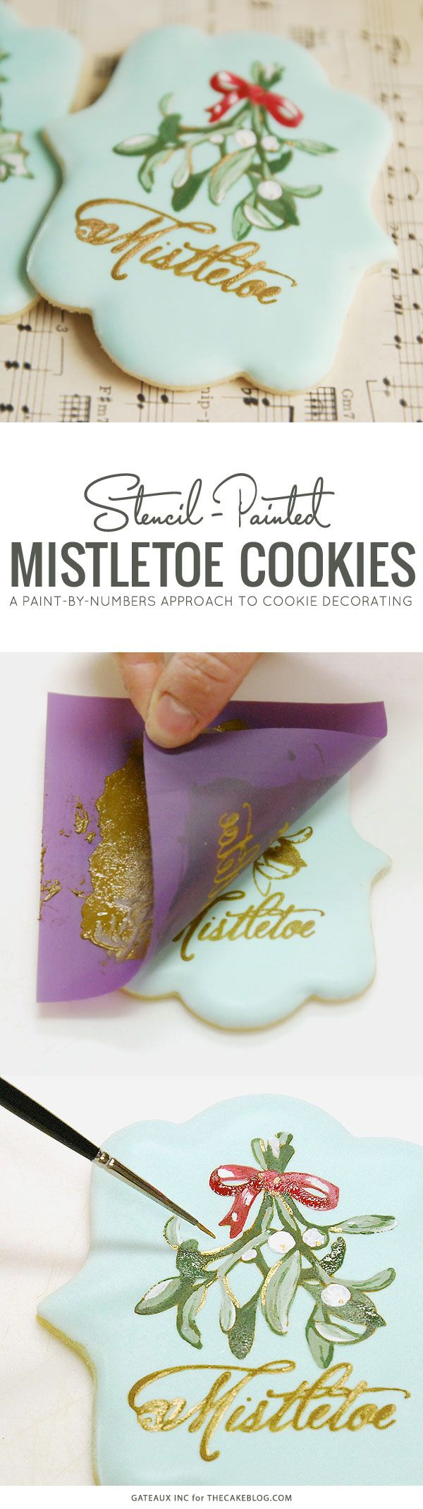 How to stencil-paint a cookie | Mistletoe Cookie Tutorial | by Robin Martin for TheCakeBlog.com