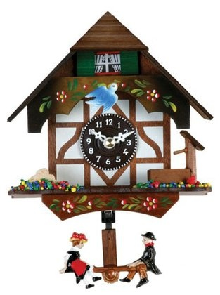 """River City Clocks Quartz Novelty Clock-German Chalet with Bird & Well-6 """" Tall"""