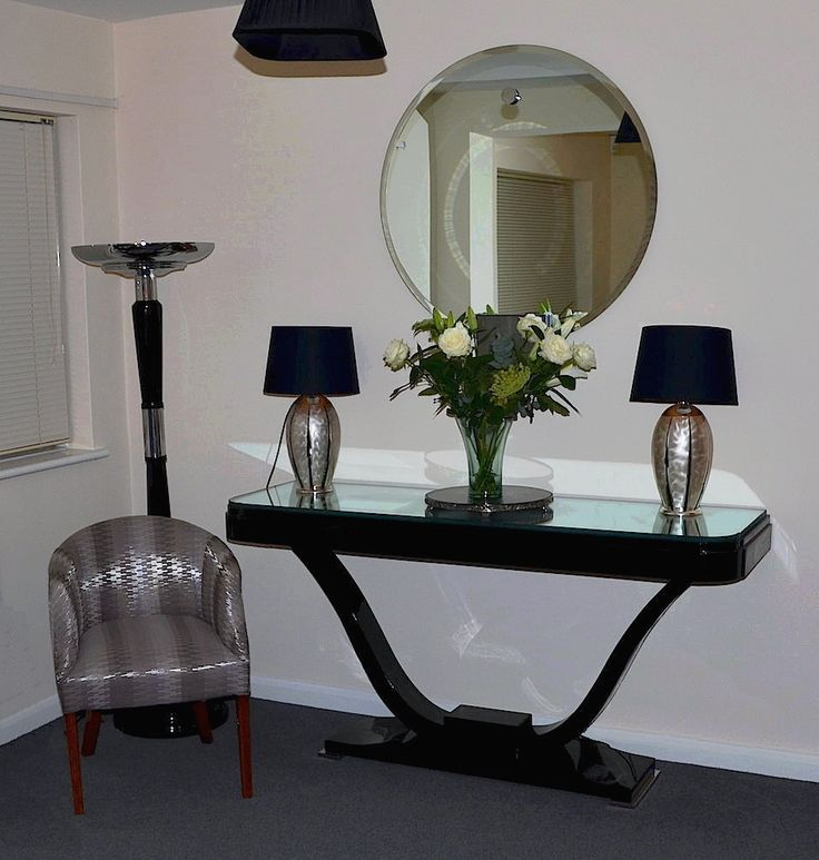 Black lacquer & Glass French Deco consul table with uplighter & WMF Ikora lamps