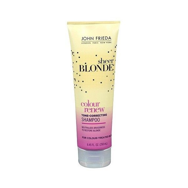 John Frieda Sheer Blonde Color Renew Tone-Correcting Shampoo . oz. (9.21 CAD) ❤ liked on Polyvore featuring beauty products, haircare, hair shampoo, and hair treatments, beauty and fragrance, conditioners, hair shampoos, health and beauty and shampoos