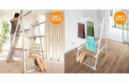 Tendedero eléctrico Comfy Dryer Compak fabricado en aluminio, muy práctico ya que consigue un rápido secado de tus prendas en el interior de la vivienda, es plegable y ocupa poco sitio. #hogar   #descuento