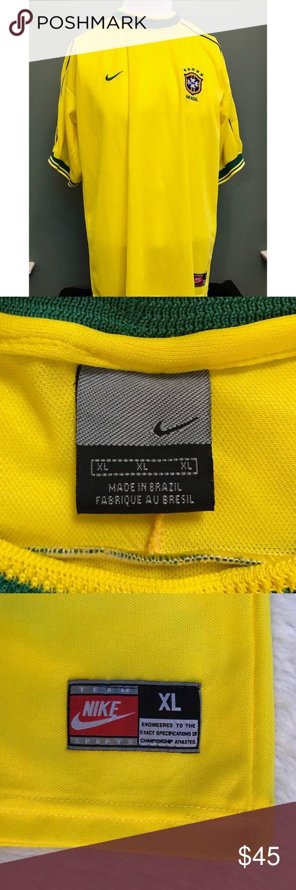 """Men's Vintage Nike Brazil Soccer Jersey Brasil FFA Men's Vintage Nike Brazil Soccer Jersey Football Dri Fit Brasil FFA Size XL Armpit to Armpit: 23""""  Length: 30"""" Nike Shirts"""