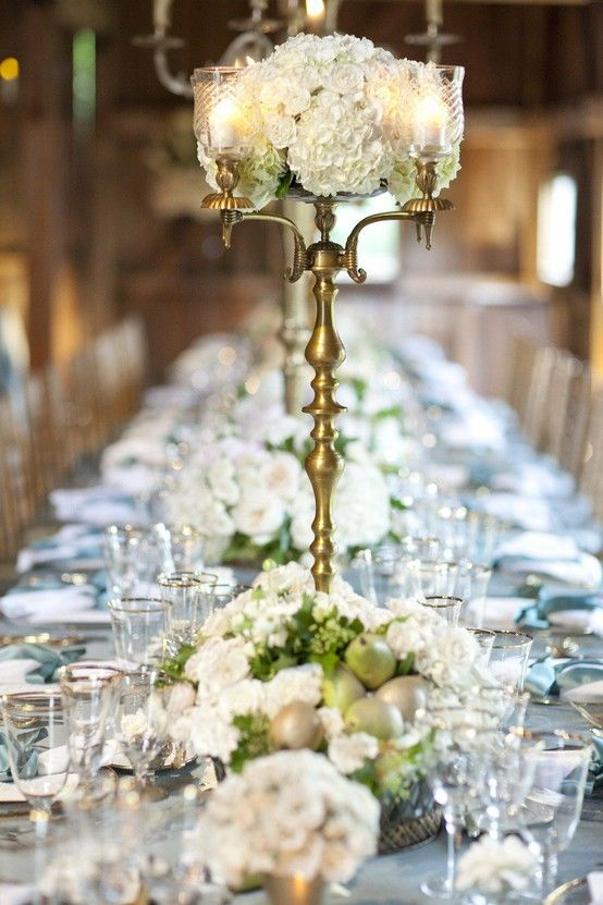 Wedding reception pears, white hydrangea with gold accent