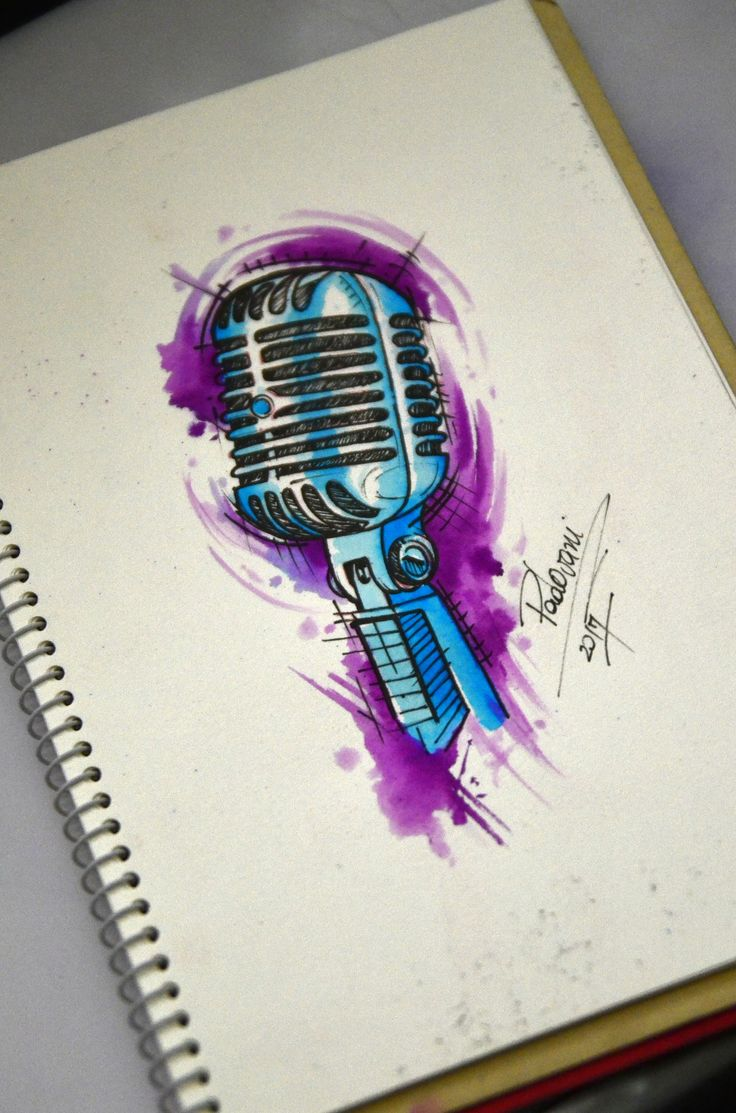 microphone - watercolor - tattoo sketch - Thiago Padovani