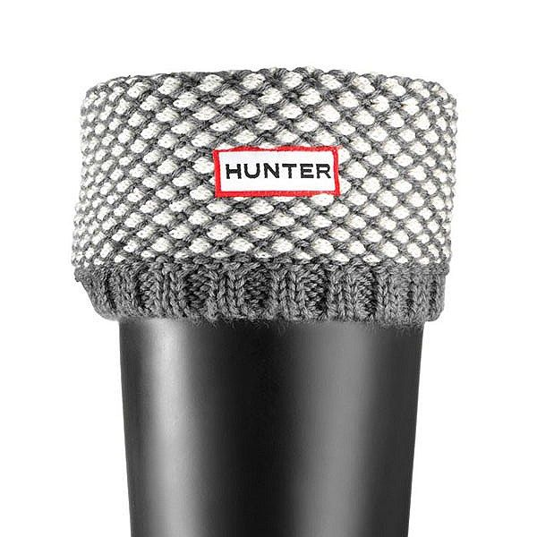 hunter boot sock liners | Hunter Woven Stitch Welly Sock Graphite/Cream - Cotswold Country LTD