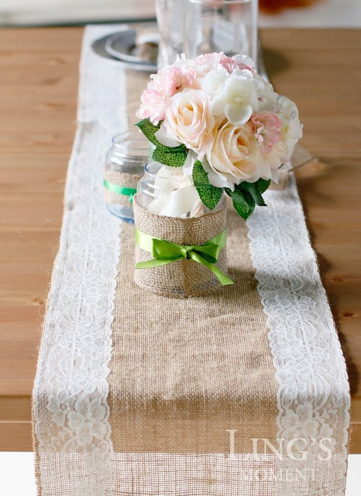 168 best inspirao em decorao com juta images on pinterest cheap table cleaner buy quality table runner sale directly from china runner rug suppliers jute burlap hessian table runner with lace trim wedding party junglespirit Image collections