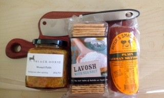 Plowmans Lunch gift hamper - Manna Sea Salt Lavosh, Butch's Plain Mettwurst, Black Horse Mustard Pickle, Motto Artisan Paddle Board, Compact Cleaver.  Great gourmet gifts for the chef, cook and picnicer in the family. Eat now...#ploughman #lunch #gourmet #hamper #sharethelove #gobsmack