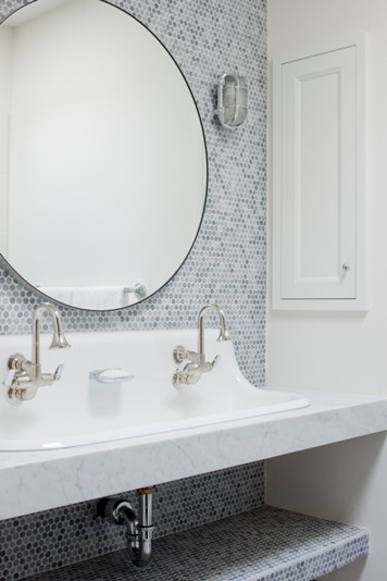 bath: Pennies Tile, Round Mirror, Kids Bathroom, Bathroom Mirror, Trough Sinks, Bathroom Sinks, Bathroom Ideas, Under Sinks, Eclectic Bathroom