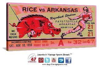 College football art. 1956 Arkansas Razorback football ticket art on canvas. #47straight #arkansas #razorbacks #collegefootball