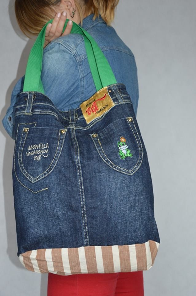 https://www.facebook.com/RozetaModa/photos/pcb.1189764364367342/1189763927700719/?type=3  girl's jeans skirt converted to bag-recycled by La Rosette
