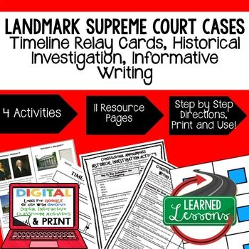 Civics Landmark Supreme Court Cases Sequencing Relay Cards, Research, Digital Interactive Notebook, Informative Writing Activities (Paper & Google Drive) This Civics Landmark Supreme Court Cases Sequencing Relay Cards, Research, Informative Writing Activities (Paper & Google Drive)