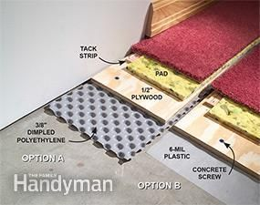 How to Carpet a Basement Floor | The Family Handyman Prevent damp basement floors from ruining carpet and other finished flooring. Install dimpled polyethylene to create an air space between the concrete and the finished floor, sealing off dampness and giving moisture a chance to dissipate.