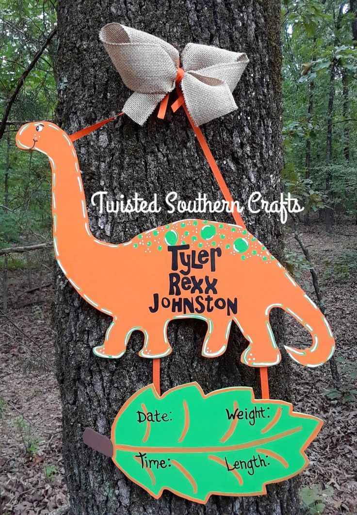 Dinosaur Baby Hospital Door Hanger  Dino Dinosaur Baby Door hanger Hospital Door hanger Nursery Hanger Baby stats Birth Stats Boy Orange Leaf