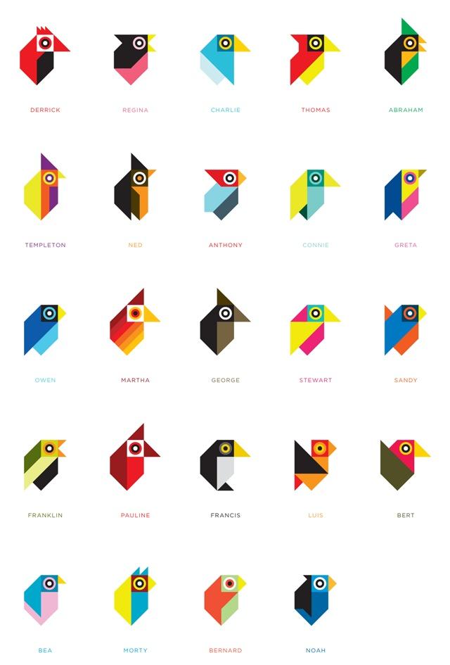 Personal - Little Birdies / Tony Buckland #tonybuckland #grafica #illustrazione #icone #animali #uccelli #geometrico