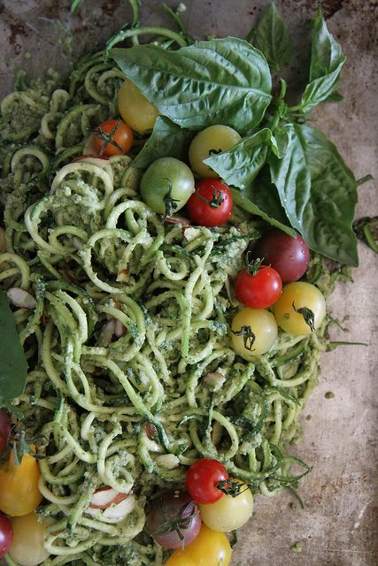 Zucchini Noodles with Basil Almond Pesto