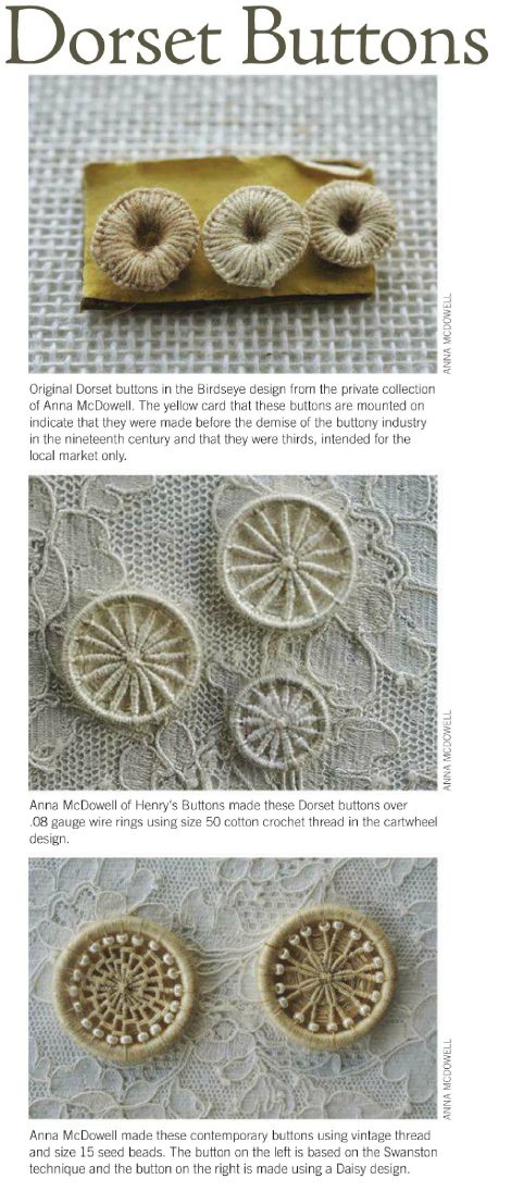 A History of Dorset Buttons (from Jane Austen Knits magazine)