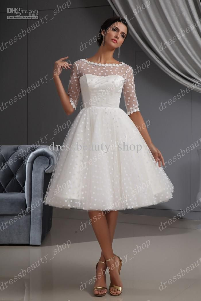 Dotted Tulle Knee Length Wedding Dress