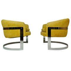 Milo Baughman Curved Lounge Chairs