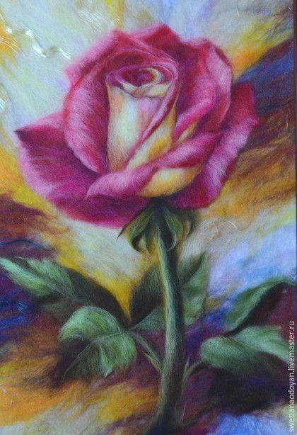 """Картины цветов ручной работы. Ярмарка Мастеров - ручная работа. Купить Картина из шерсти Роза"""". Handmade. Разноцветный, шерсть для валяния"""