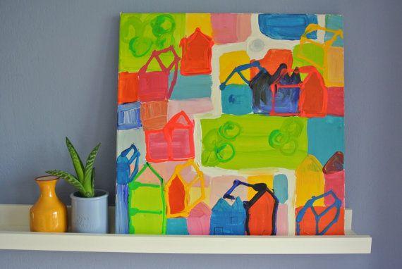 Schilderij 'plattegrond' - vrolijke (neon)kleuren, acrylverf op doek.