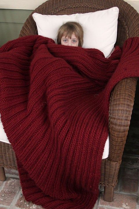 Free Knitting Pattern for Easy Blanket Blanket For Seriously Cold People - This easy afghan from Softsweater Knits features a stretch cushy ribbing pattern. It's a fast knit in super bulky yarn. Pictured project by acunningplan