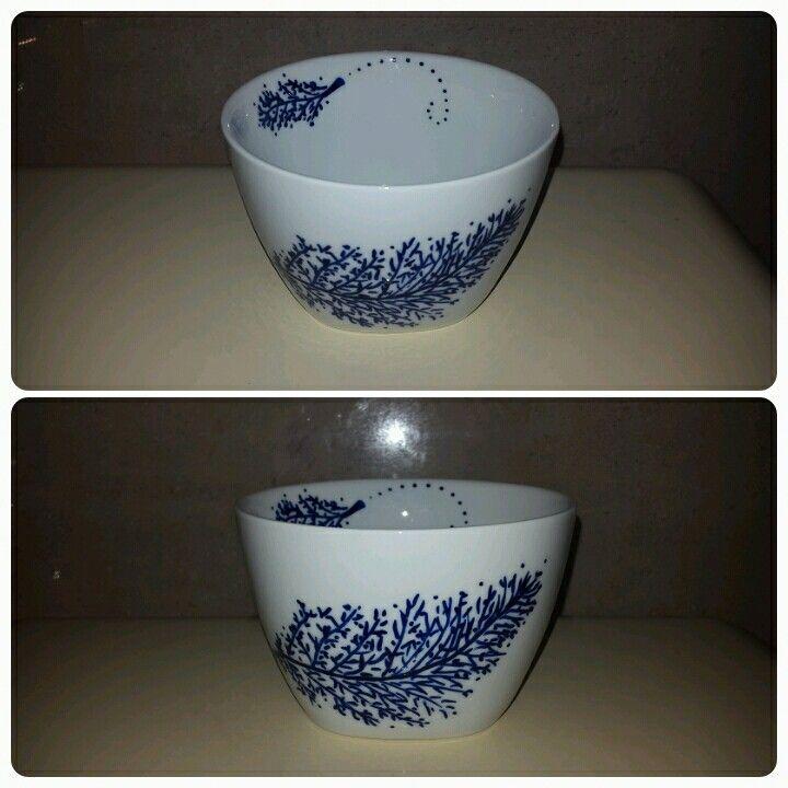 Håndmalet porcelænsskål - malet med porcelænstusch