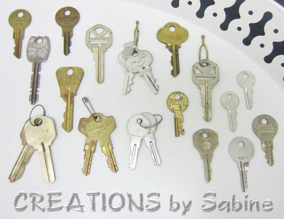 Lot of 21 Vintage Keys, Yale Type Cylinder Lock Key Brass Silver Tone Old Jewelry Making Bell Hop Arts and Crafts Steampunk Supplies by CREATIONSbySabine