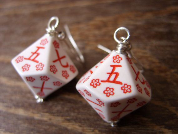 japanese earrings kanji numbers D10 dice earrings japansese dice dungeons and dragons flowers girly geek