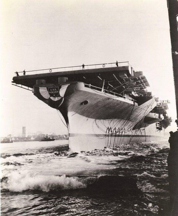 Launching of USS Hancock, Bethlehem Steel Company at Quincy, Massachusetts, United States, 24 Jan 1944 Photographer   Robert M. Cieri Source   United States Navy Bureau of Aeronautics