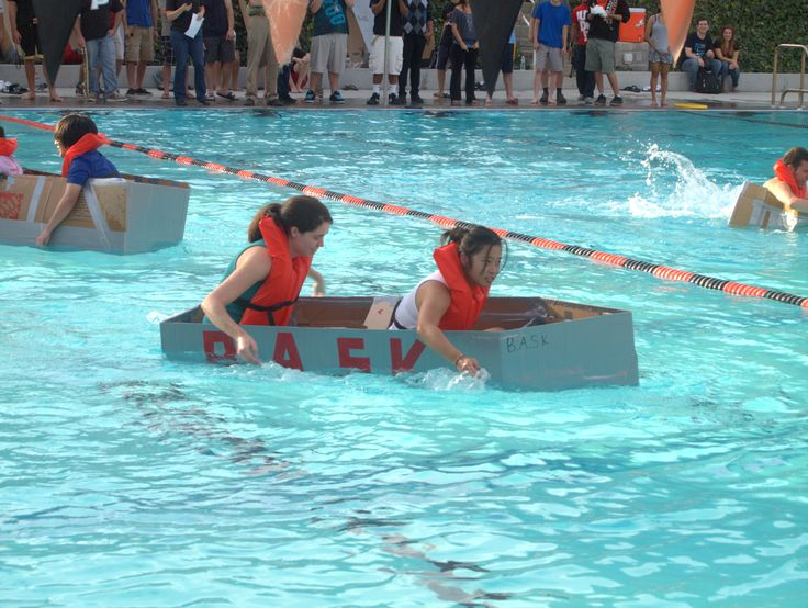 Sail away! CARDBOARD REGATTA  a graded event for every first year student in the School of Engineering and Computer Science. Students are split into teams and each team must build a boat out of cardboard and duct tape. The boat must hold two people and make it across Pacific's swimming pool. University of the Pacific. 2011