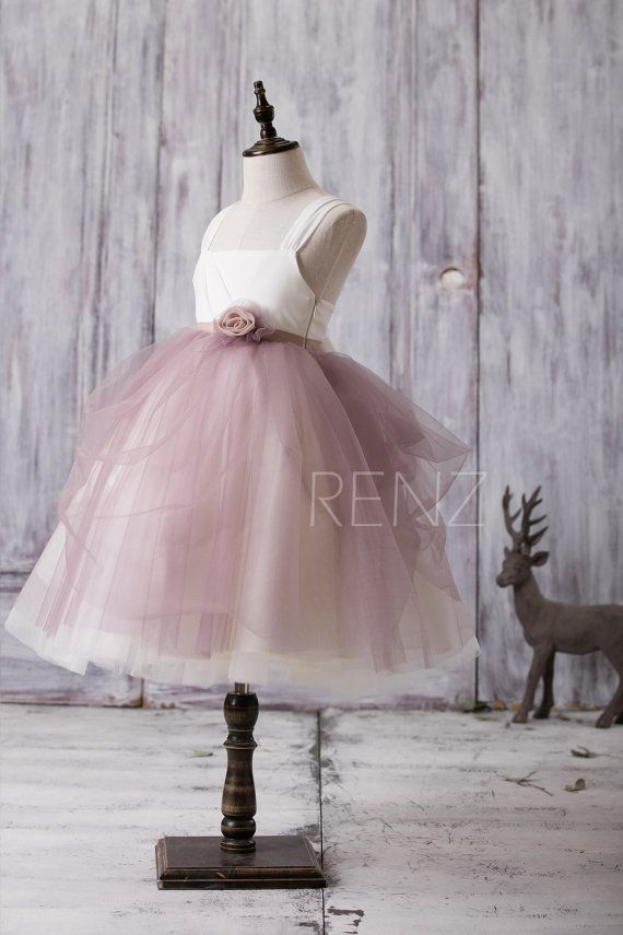 2016 White Dusty Rose Junior Bridesmaid Dress Square by RenzRags