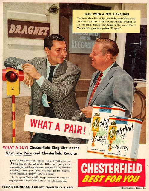 chesterfield cigarettes 1954 by it's better than bad, via Flickr
