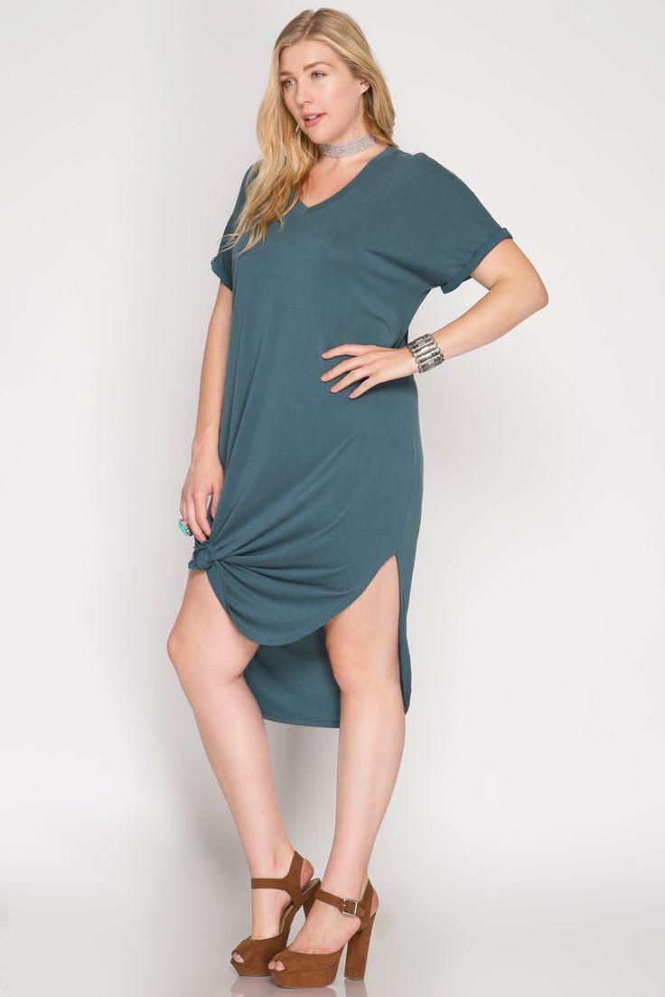 SS-PSL5587 Drop Shoulder Folded Sleeve Midi T-Shirt Dress
